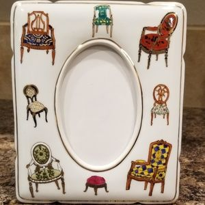 Vintage ceramic hand painted picture frame chairs